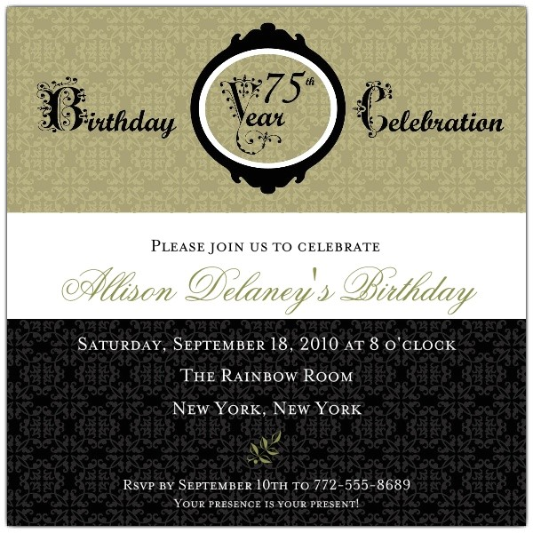 damask 75th birthday invitations p 606 55 00075