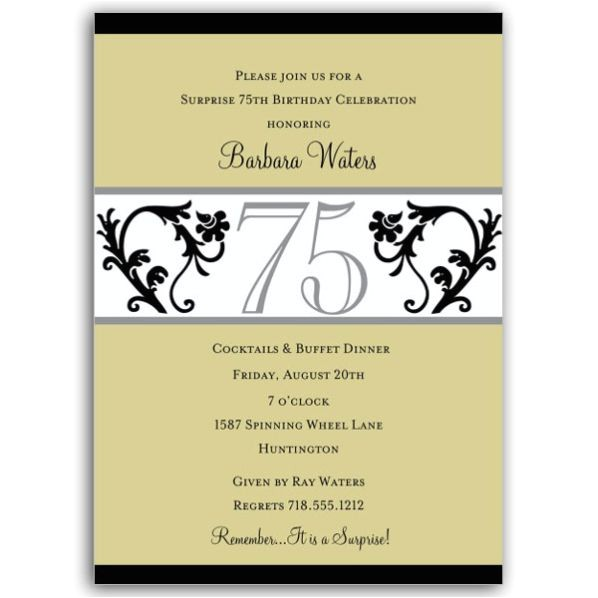 elegant vine chartreuse 75th birthday invitations p 604 57 evc75