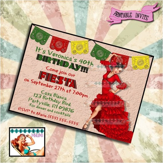 pinup birthday invitation feista mexican