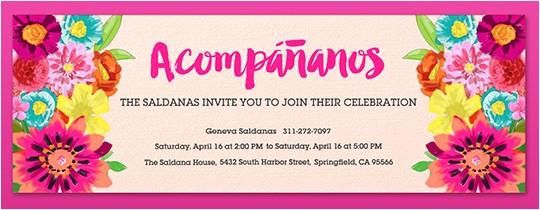 spanish birthday party invitation