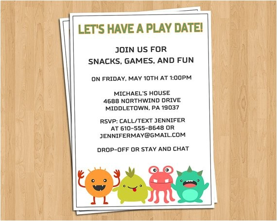 play date invitation birthday party invitation wording drop off cogimbo us