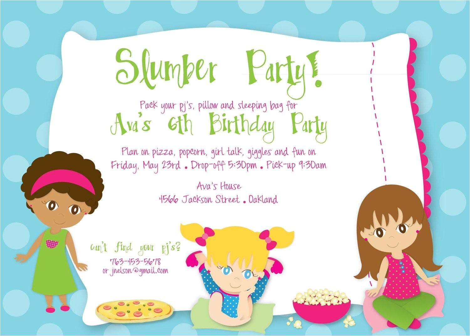 slumber party birthday custom digital
