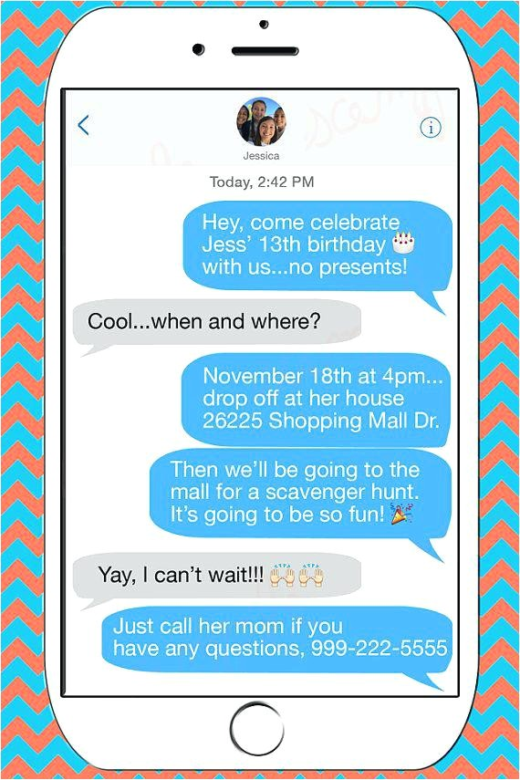 free text message birthday invitations