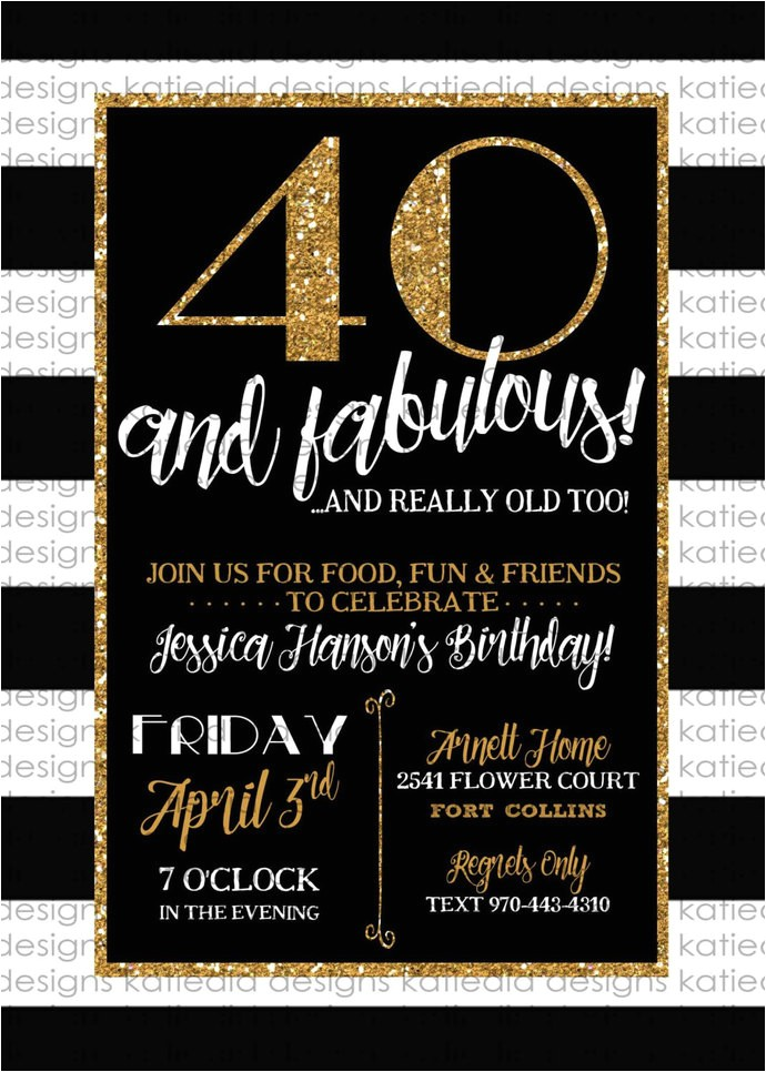 40th birthday invitation black and white stripe gold retirement surprise party graduation announcement engagement baptism wedding item 239