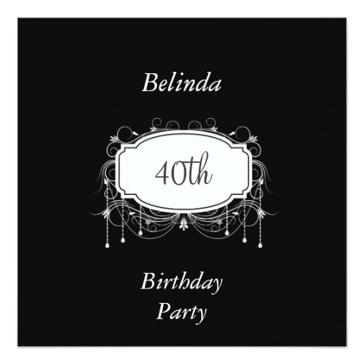 40th birthday party black and white invitation 161260209992710602