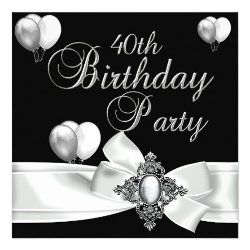 40th birthday party black white silver balloons invitation 161622066486171855