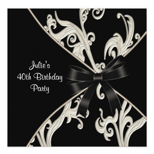 black white swirl womans 40th birthday party invitation 161114068187726190