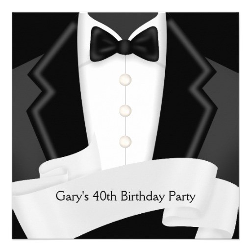 blacktuxedo mans black white 40th birthday party invitation 161090003718156138