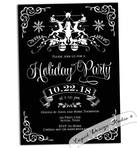 black and white holiday party invitation