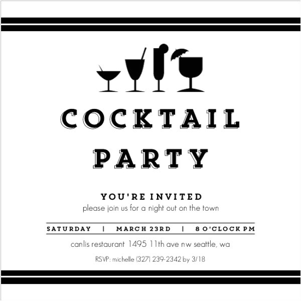 Black and White Cocktail Party Invitations 52 Party Invitation Designs Examples Psd Ai Eps Vector