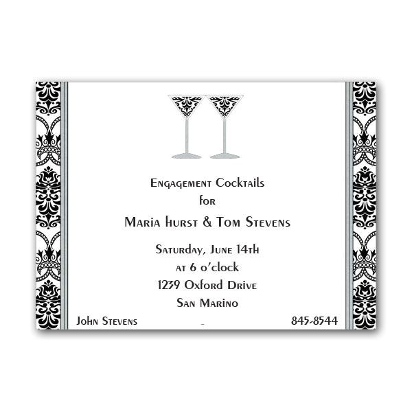 black and white patterned cocktail invitations clearance p 84 j 51