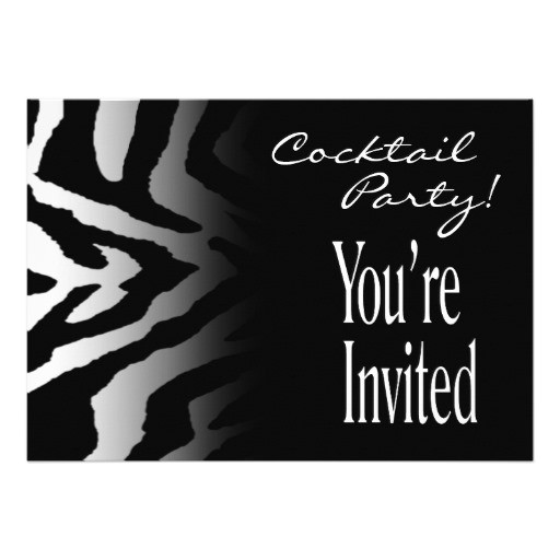 funky zebra black white cocktail party invitation 161421938107890786