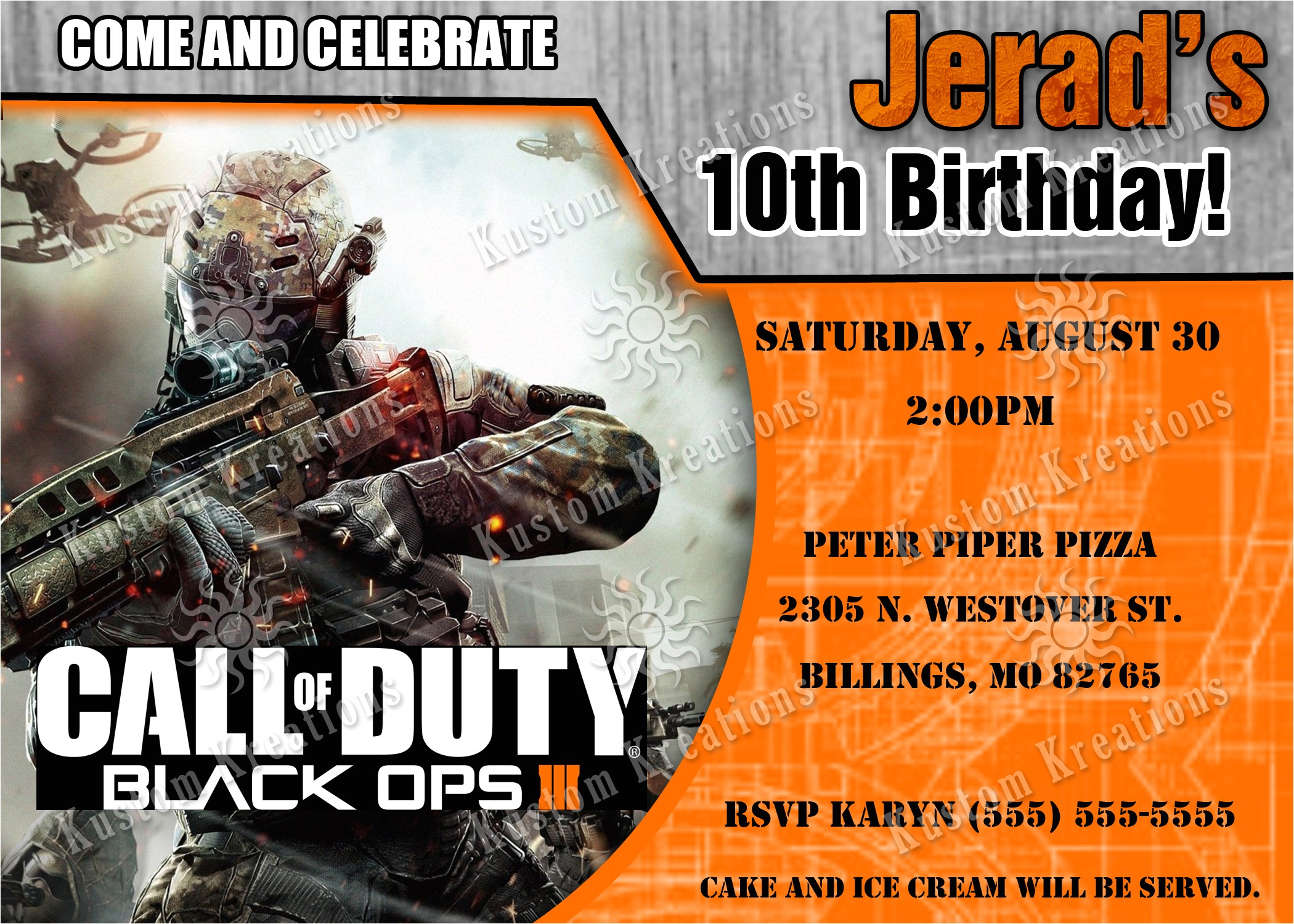 call of duty black ops 3 birthday invitation