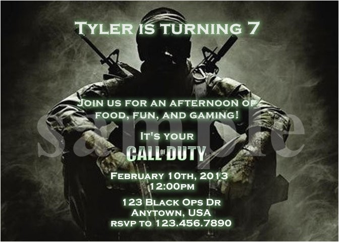 call of duty ghosts birthday invitations
