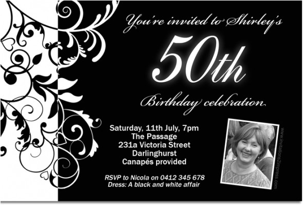 black and white birthday party invitations
