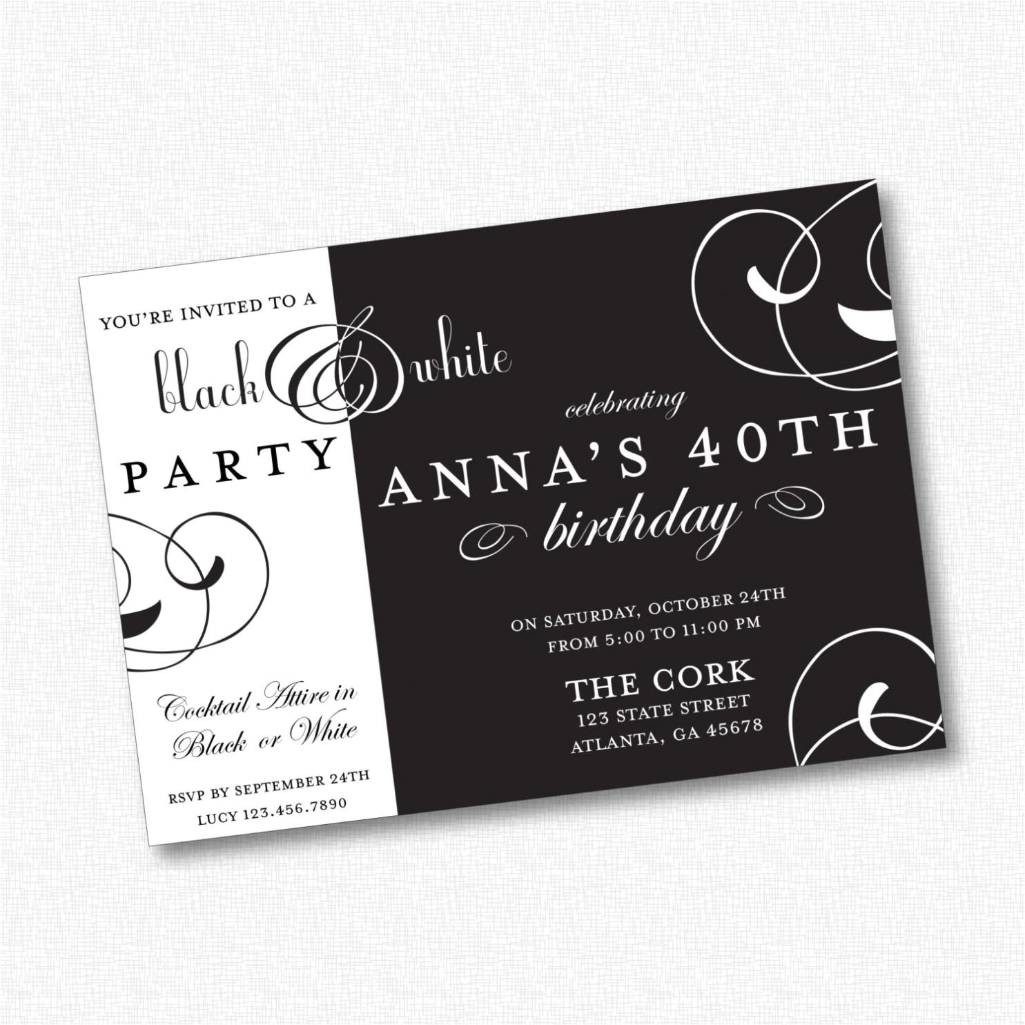 Black White Party Invitation Wording White Party Invitation Wording Black and White Party