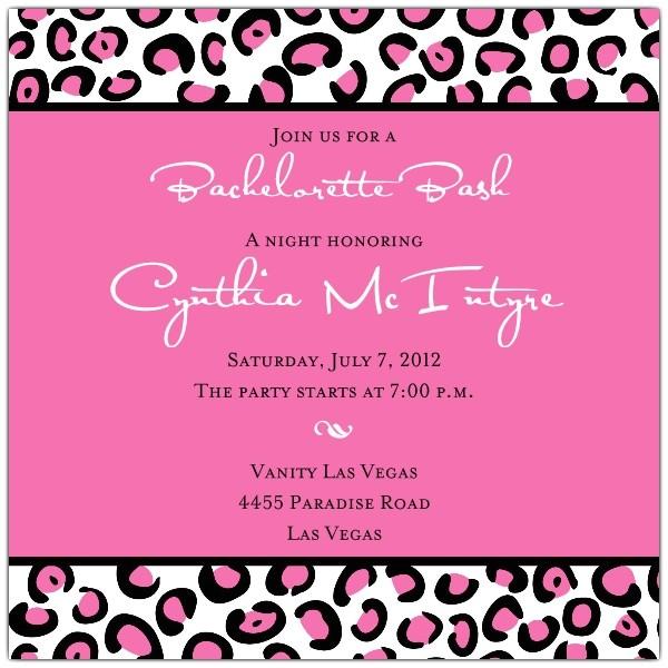 leopard spots pink bachelorette invitations p 610 55 185p