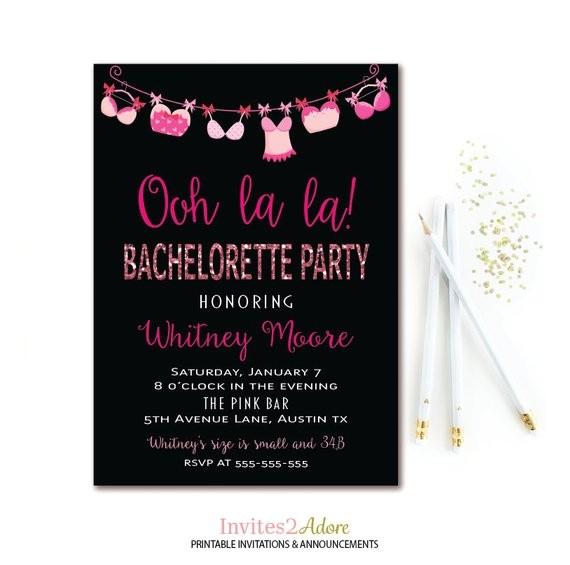 ooh la la lingerie bachelorette invitation 2