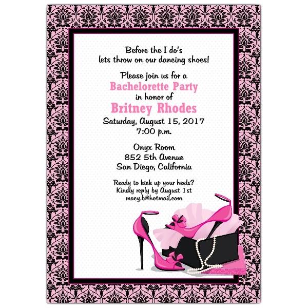 pretty pumps bachelorette invitations p 643 57 982