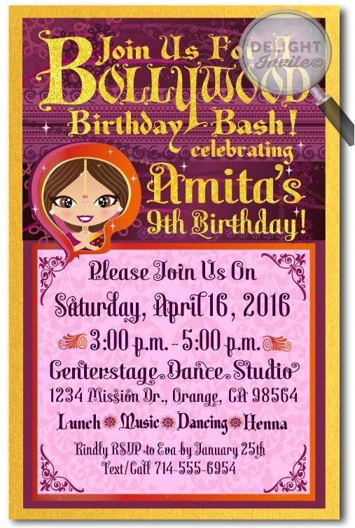 bollywood theme party invitation