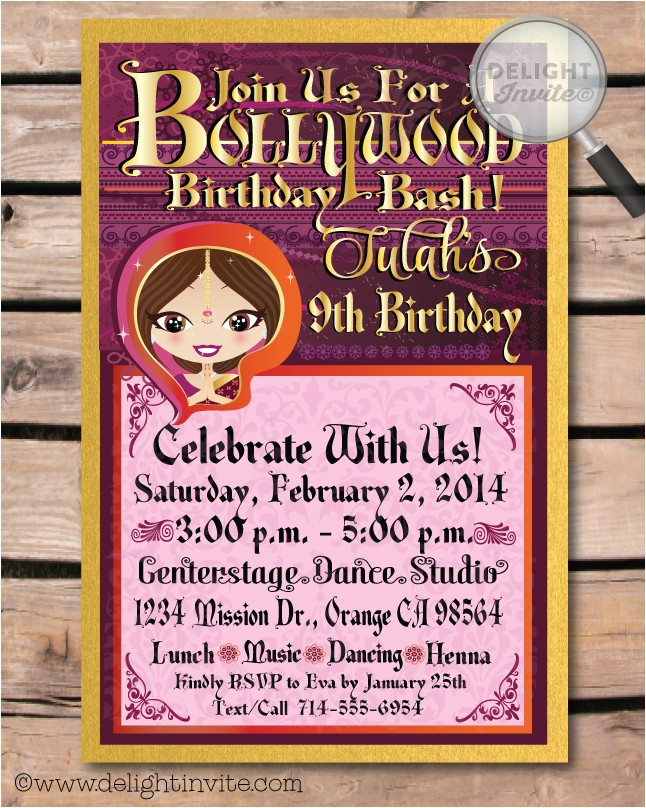 bollywood birthday invitation envelope p 2517