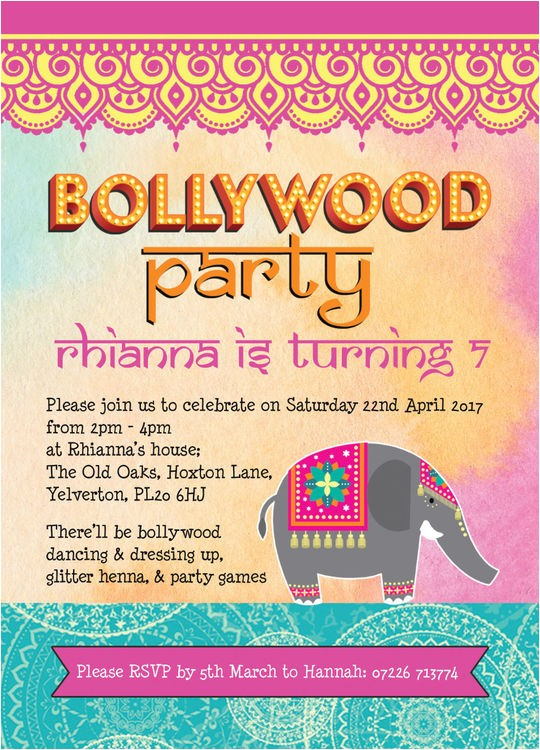 bollywood childrens party invitation