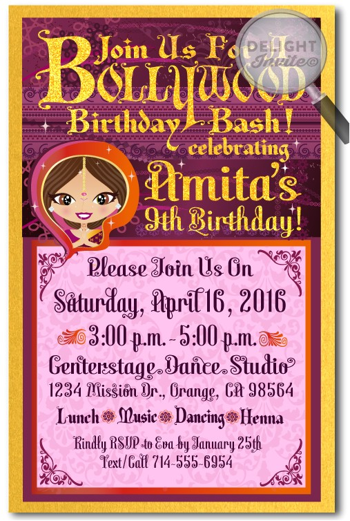 Bollywood theme Party Invitation Card Bollywood Party Birthday Invitations Bollywood Birthday