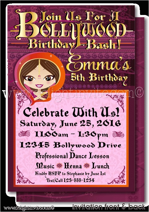 printable digital bollywood party birthday invitation p 4554