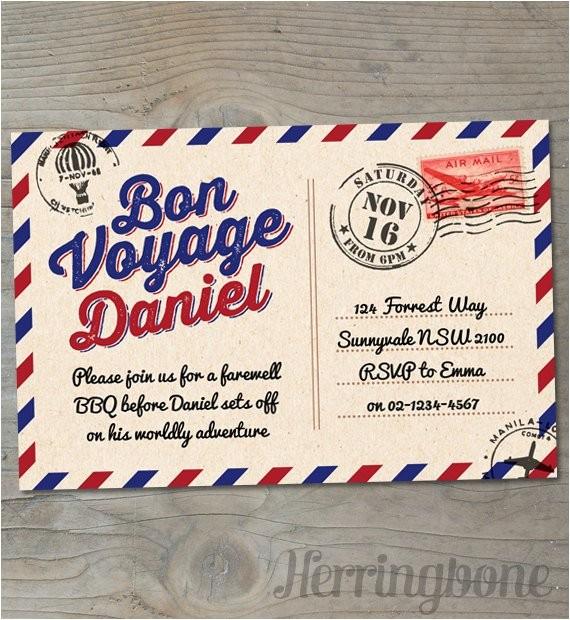 bon voyage farewell printable invitation