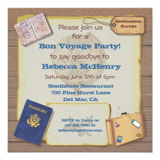 rustic vintage bon voyage party invitation 161892929916368398