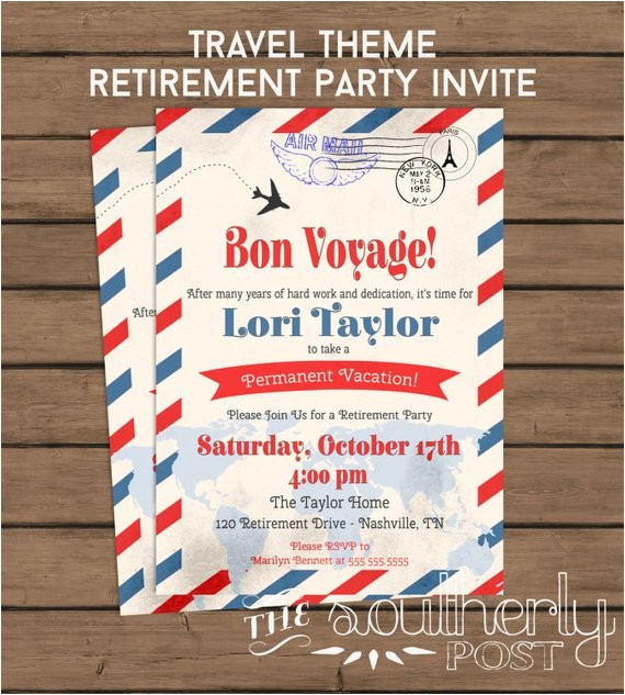 travel theme retirement party invitation
