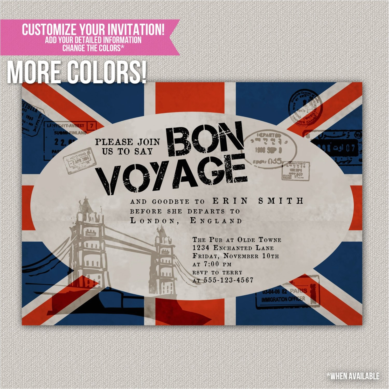 bon voyage custom party invitation
