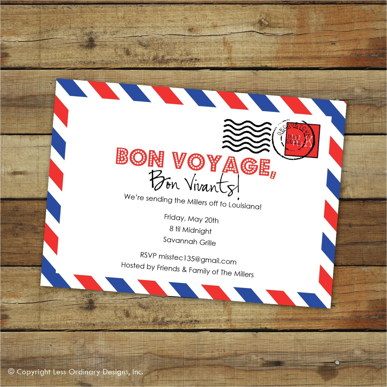 Bon Voyage Party Invitations Custom Bon Voyage Party Invitation Goodbye Party Airmail