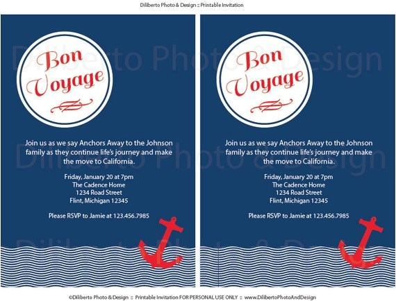 printable party invitation bon voyage by