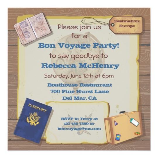 rustic vintage bon voyage party invitation 161892929916368398