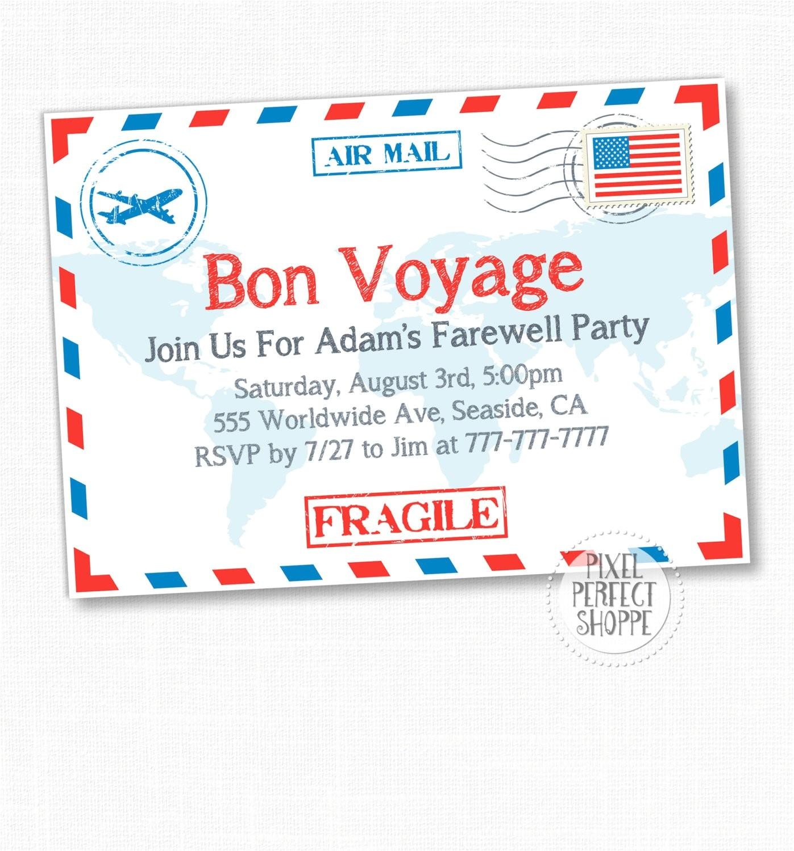 travel farewell party invitation bon