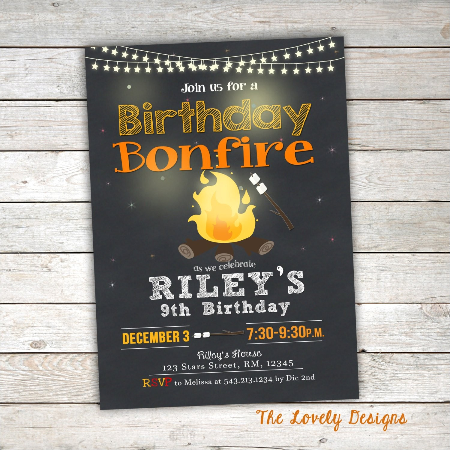bonfire birthday invitation camp