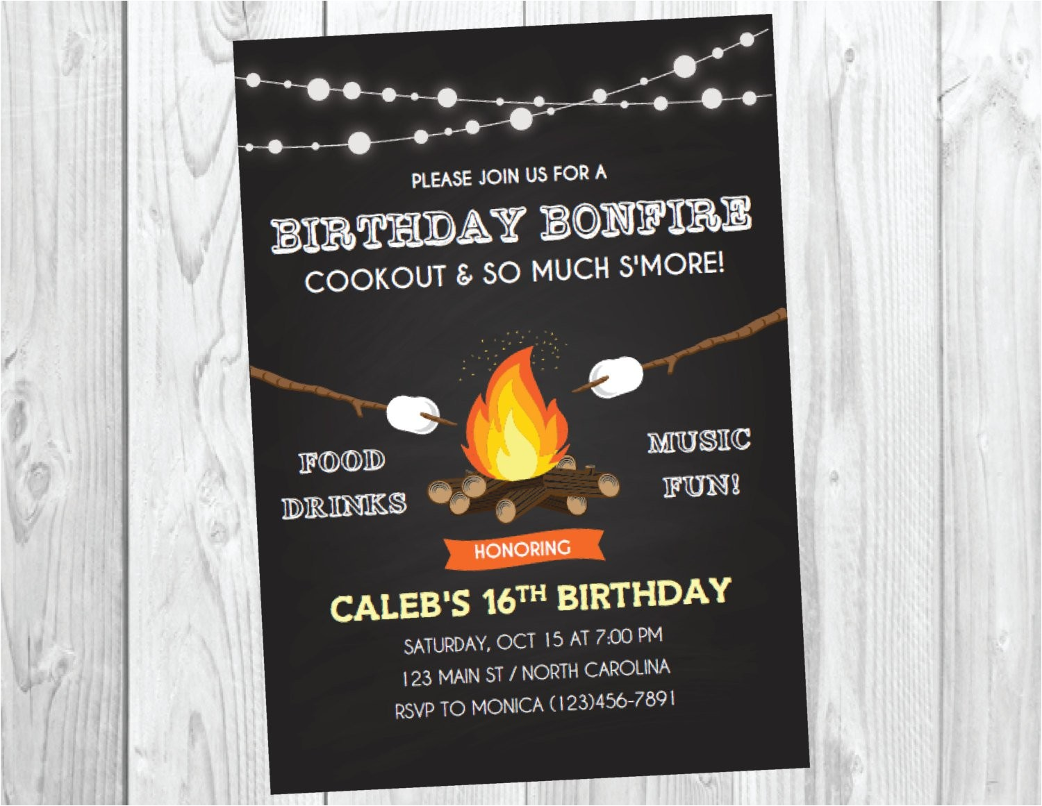 bonfire birthday invitations
