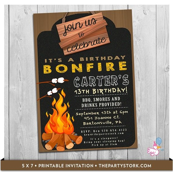 bonfire invitation printable boy girl birthday