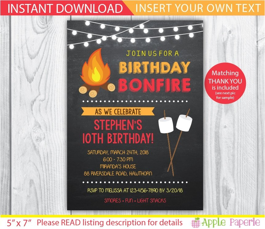 bonfire invitation camp invitation