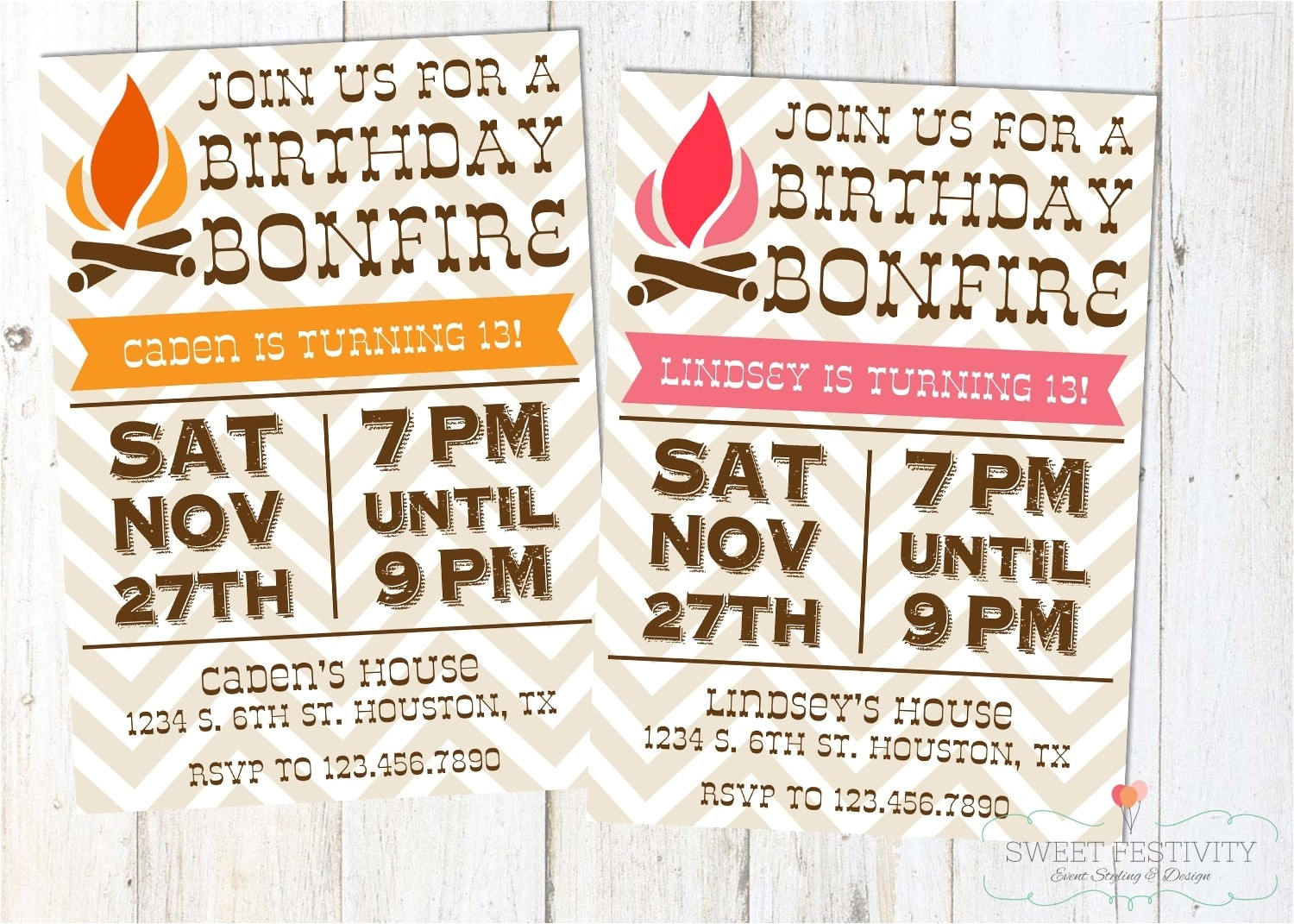 bonfire invitations template