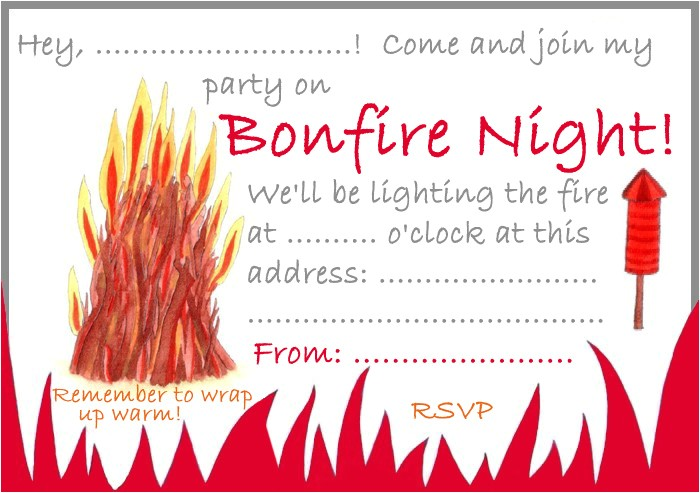 party invitation bonfire night