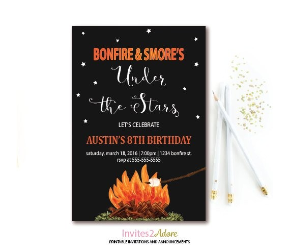 bonfire smores birthday invitation