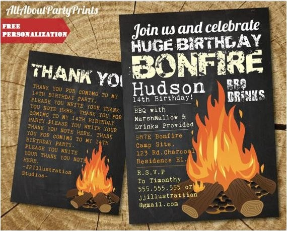 instant download birthday bonfire invitation printable