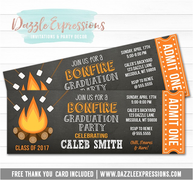 bonfire chalkboard ticket graduation invitation 1 free thank you card