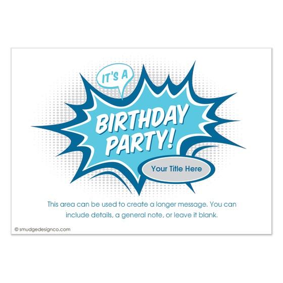 comic book party invitations