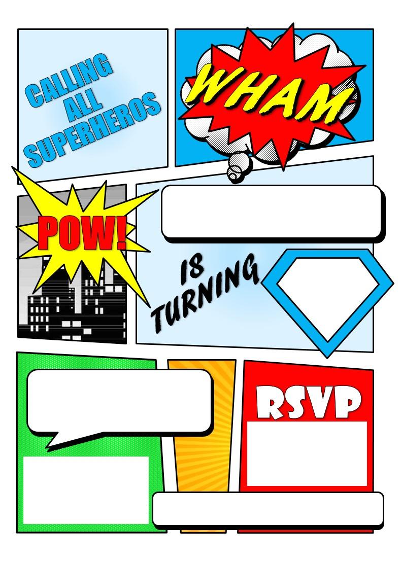 super hero comic book invitation