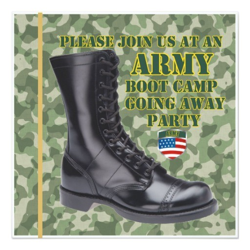 soldier boot camp going away party invitation 161436306873723025