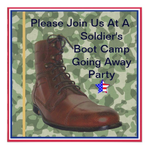 soldiers boot camp going away party invitation 161150734827787189