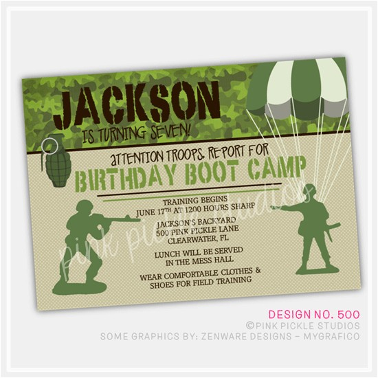 boot camp boy personalized party invitation